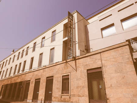 arturo: TURIN, ITALY - AUGUST 05, 2015: Auditorium RAI music hall designed by architect Carlo Mollino in 1958 dedicated to music director Arturo Toscanini vintage