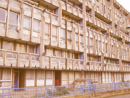 housing estate: LONDON, ENGLAND, UK - MARCH 05, 2009: The Robin Hood Gardens housing estate designed in late sixties by Alison and Peter Smithson is a masterpiece of new brutalist architecture vintage