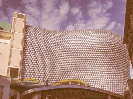 bull rings: BIRMINGHAM, UK - SEPTEMBER 24, 2015: Bull Ring shopping centre designed by Future Systems architects for Selfridges vintage
