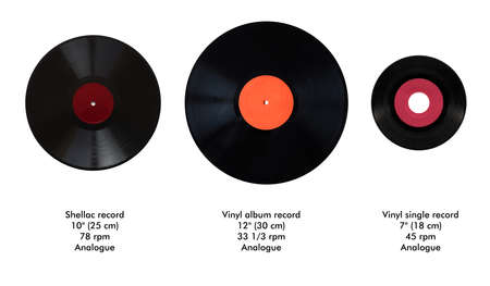 Size comparison of many analogue recording media for music. Left to right: shellac record 78 rpm, vinyl record 33 rpm and 45 rpm