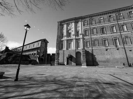rivoli: The Rivoli Castle in Rivoli near Turin in Rivoli, Italy in black and white