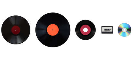 Size comparison of many analogue and digital recording media for music. Left to right: shellac record 78 rpm, vinyl record 33 rpm and 45 rpm, compact cassette aka tape cassette, compact disc Stock Photo