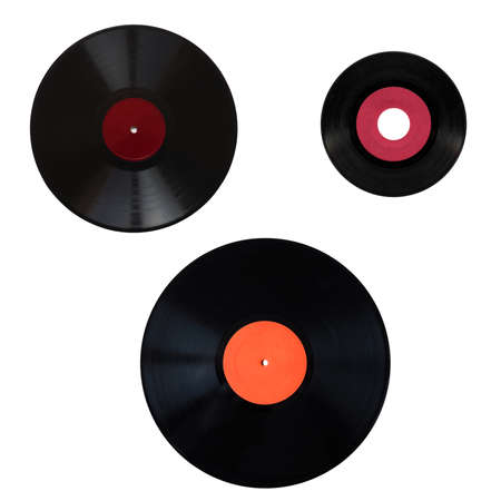 Size comparison of many analogue recording media for music. Left to right, top to bottom: shellac record 78 rpm, vinyl record 33 rpm and 45 rpm Stock Photo