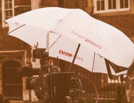 live event: LONDON, ENGLAND, UK - NOVEMBER 30: BBC News location facilities at an outdoor live event broadcast on the occasion of the Royal Christening on November 30, 2013 in London, England, UK vintage Editorial