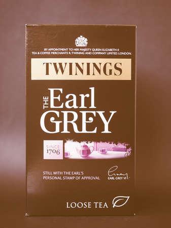earl: LONDON, UK - JANUARY 6, 2015: Twinings Earl Grey loose tea vintage Editorial