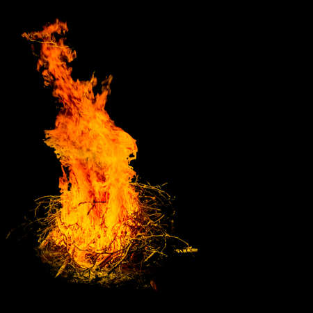 combustible: Bonfire burning bright in the night - dark black background with copy space
