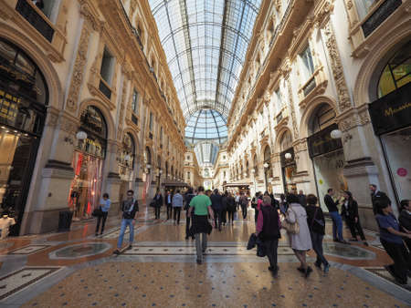 vittorio: MILAN, ITALY - CIRCA APRIL 2016: Tourists in Galleria Vittorio Emanuele II gallery