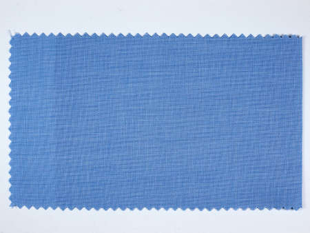 sample: Blue fabric sample swatch with zigzag border