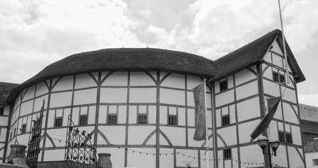 globe theatre: LONDON, UK - JUNE 10, 2015: The Shakespeare Globe Theatre in black and white