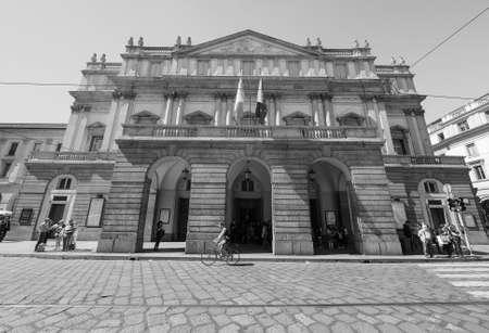 scala: MILAN, ITALY - CIRCA APRIL 2016: Teatro alla Scala theatre in black and white