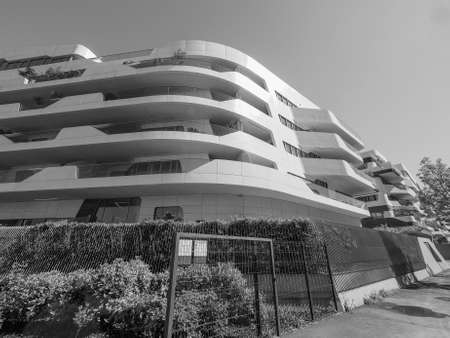 citylife: MILAN, ITALY - CIRCA APRIL 2016: CityLife Milano residential complex designed by Zaha Hadid architects in black and white