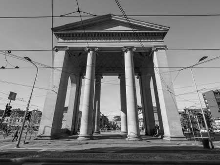 ticinese: MILAN, ITALY - CIRCA APRIL 2016: Porta Ticinese city gate in black and white