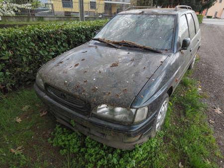 dumped: An old unused abandoned vehicle aka dumped car