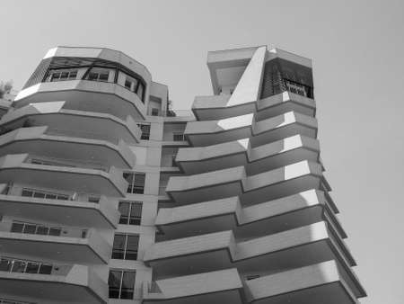 condominium complex: MILAN, ITALY - CIRCA APRIL 2016: CityLife Milano residential complex designed by architect Daniel Libeskind in black and white Editorial