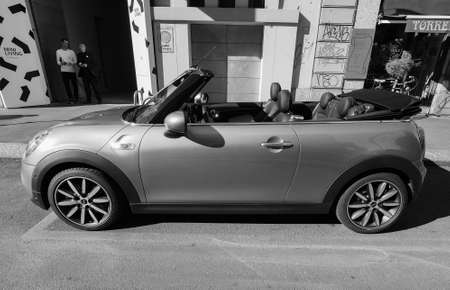 mini car: MILAN, ITALY - CIRCA APRIL 2016: Mini car at Mini Living event at Fuorisalone 2016 in black and white Editorial