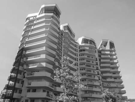 citylife: MILAN, ITALY - CIRCA APRIL 2016: CityLife Milano residential complex designed by architect Daniel Libeskind in black and white Editorial