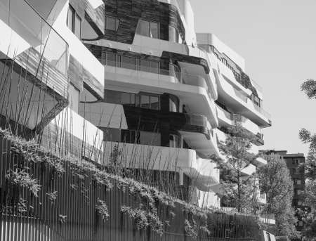 condominium complex: MILAN, ITALY - CIRCA APRIL 2016: CityLife Milano residential complex designed by Zaha Hadid architects in black and white