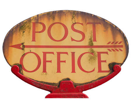 sign post: Old post office sign isolated over white