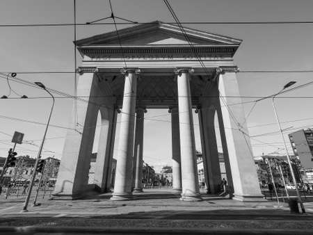 ticinese: MILAN, ITALY - CIRCA APRIL 2016: Porta Ticinese city gate in black and white