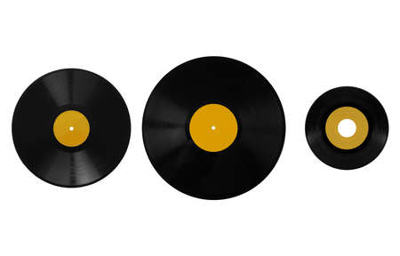 78 rpm: Size comparison of many analogue recording media for music. Left to right: shellac record 78 rpm, vinyl record 33 rpm and 45 rpm - yellow label