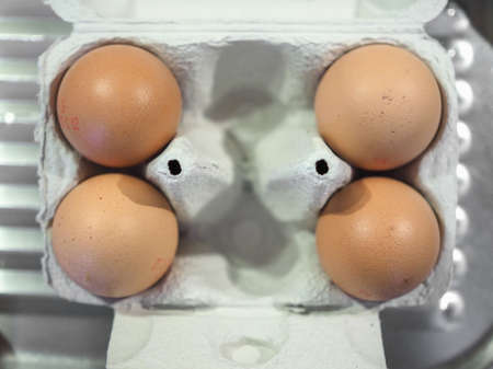 egg carton: Eggs in an egg box aka egg carton food