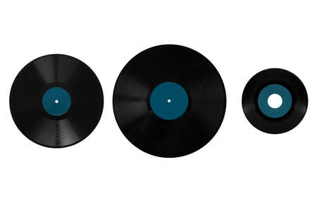 78: Size comparison of many analogue recording media for music. Left to right: shellac record 78 rpm, vinyl record 33 rpm and 45 rpm