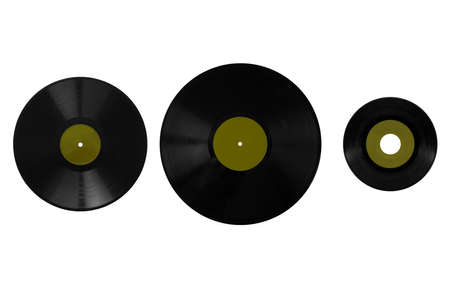 78: Size comparison of many analogue recording media for music. Left to right: shellac record 78 rpm, vinyl record 33 rpm and 45 rpm - green label