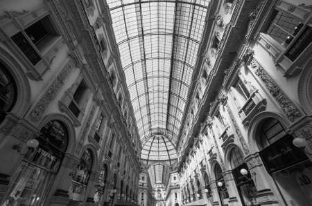 ii: MILAN, ITALY - CIRCA APRIL 2016: Galleria Vittorio Emanuele II gallery in black and white Editorial