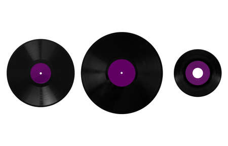 Size comparison of many analogue recording media for music. Left to right: shellac record 78 rpm, vinyl record 33 rpm and 45 rpm - purple label