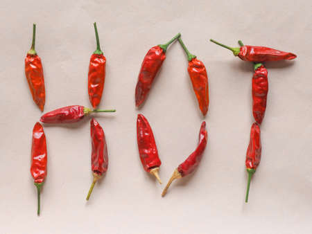 chilli pepper: Word Hot written with red chili peppers (Capsicum) aka chile pepper or chilli pepper