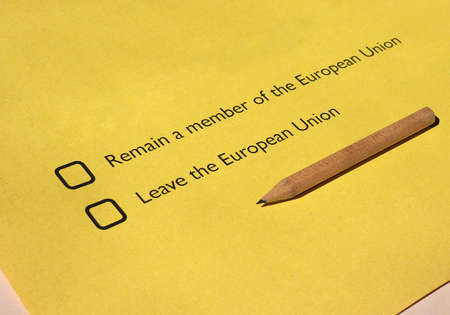 ballot papers: June 23 referendum: Should the United Kingdom remain a member of the European Union or leave the European Union. The poll is aka Brexit meaning Britain exit Editorial
