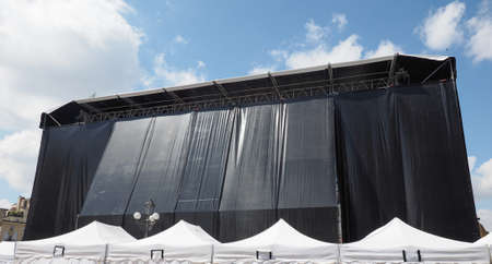 gig: Stage and marquee for outdoor music gig concert
