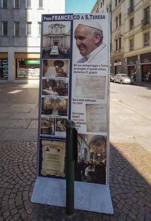francis: TURIN, ITALY - CIRCA MAY 2016: Pole celebrating the Pope Francis Bergoglio visit to the Santa Teresa church in June 2015
