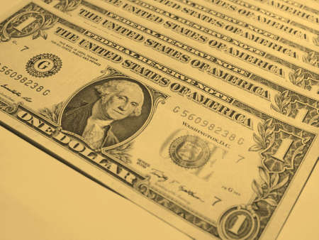 see the usa: Dollar banknotes 1 Dollar currency of the United States useful as a background - vintage sepia look Stock Photo