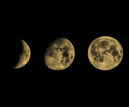 waxing gibbous: Phases of the Moon seen with telescope vintage sepia Stock Photo
