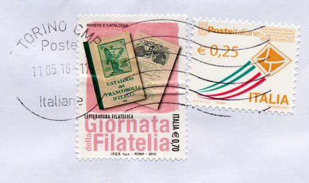 celebrated: TURIN, ITALY - CIRCA MAY 2016: A stamp printed by Italy celebrated the Giornata della Filatelia, meaning Philately Day in Italian Editorial