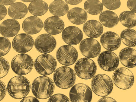 see the usa: Dollar coins 1 cent wheat penny cent currency of the United States - vintage sepia look