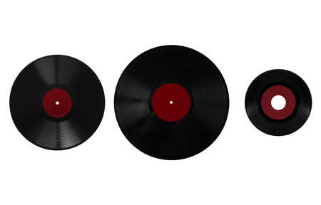78 rpm: Size comparison of many analogue recording media for music. Left to right: shellac record 78 rpm, vinyl record 33 rpm and 45 rpm - red label