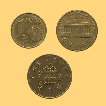 pence: One Euro cent One Dollar cent One Penny coins - vintage sepia look