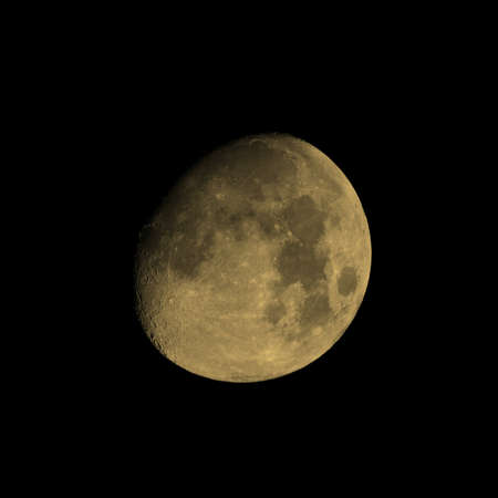 astronomic: Moon almost full seen from the northern hemisphere with a telescope vintage sepia Stock Photo