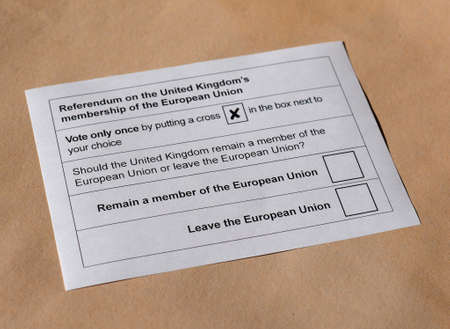 ballot paper: LONDON, UK - CIRCA MAY 2016: Ballot paper for June 23 referendum: Should the United Kingdom remain a member of the European Union or leave the European Union. The poll is aka Brexit
