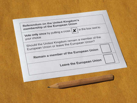 poll: LONDON, UK - CIRCA MAY 2016: Ballot paper for June 23 referendum: Should the United Kingdom remain a member of the European Union or leave the European Union. The poll is aka Brexit