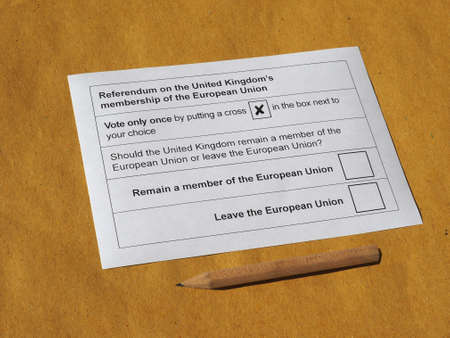 remain: LONDON, UK - CIRCA MAY 2016: Ballot paper for June 23 referendum: Should the United Kingdom remain a member of the European Union or leave the European Union. The poll is aka Brexit