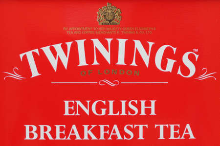 english breakfast tea: LONDON, UK - CIRCA MAY 2016: Detail of a Twinings of London English Breakfast Tea box