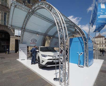 castello: TURIN, ITALY - CIRCA APRIL 2016: Toyota car stand in Piazza Castello in Turin