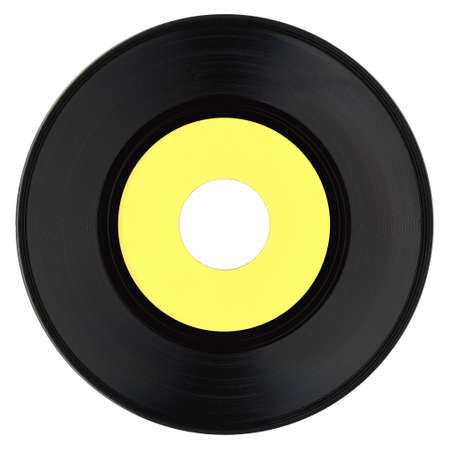 hit tech: Vinyl record vintage analog music recording medium with blank yellow label