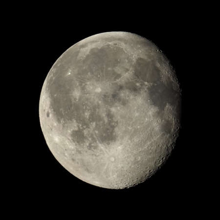 gibbous: Waning gibbous moon, almost full moon, seen with an astronomical telescope