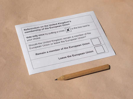 ballot paper: Actual ballot paper for June 23 referendum: Should the United Kingdom remain a member of the European Union or leave the European Union. The poll is aka Brexit meaning Britain exit Stock Photo