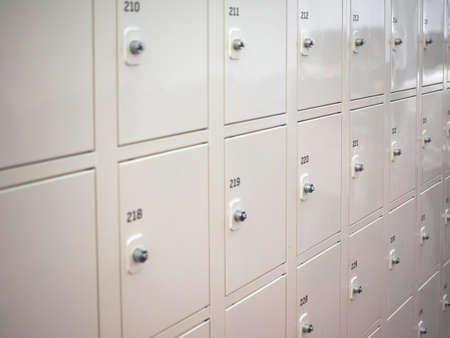 key cabinet: Lockers cabinets in a locker room at school or museum or station