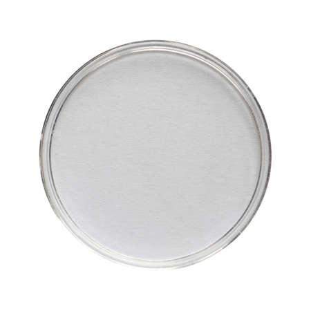 Een petrischaal (aka Petrie schotel, Petri plaat of celkweek gerecht) cilindrische glazen of plastic deksel gerecht gebruikt om te kweken cellen zoals bacteriën of mossen - geïsoleerd over Wit